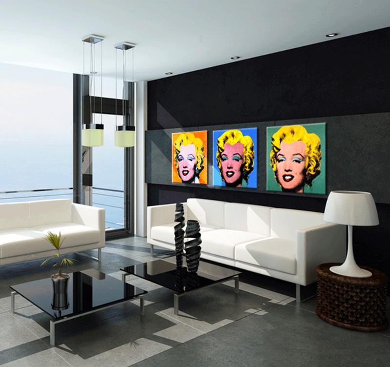 Marilyn monroe triptyque pop art - Tableaux originaux design ...