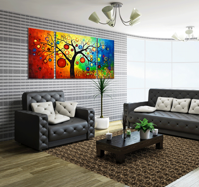 Design decoration tree tableau contemporain - Tableau pour deco couloir ...