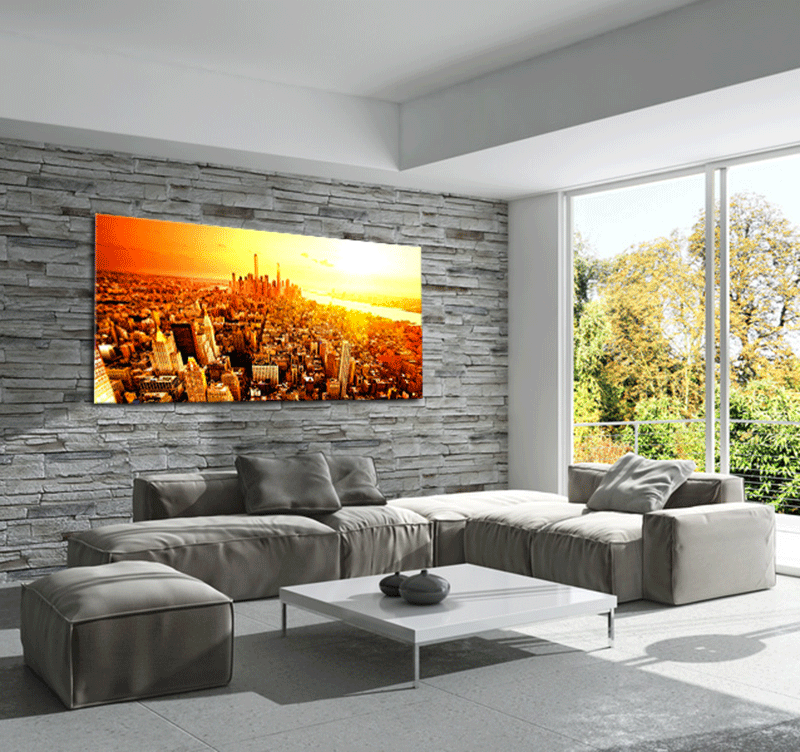 New york sunrise tableau ville for Decoration murale geante new york