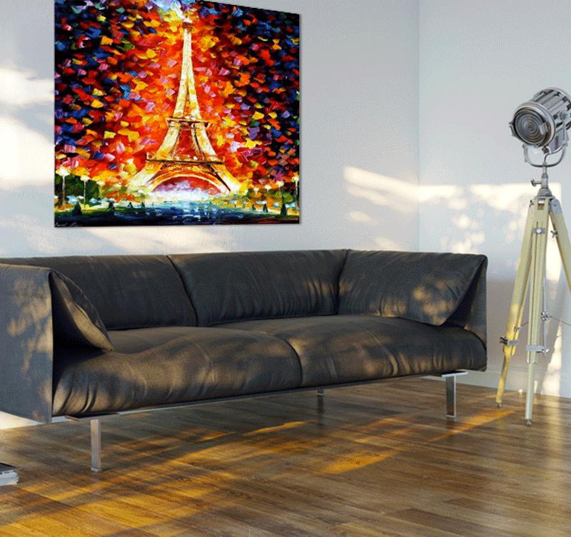 Mise en situation du tableau design colorful eiffel tower dans un cadre contemporain