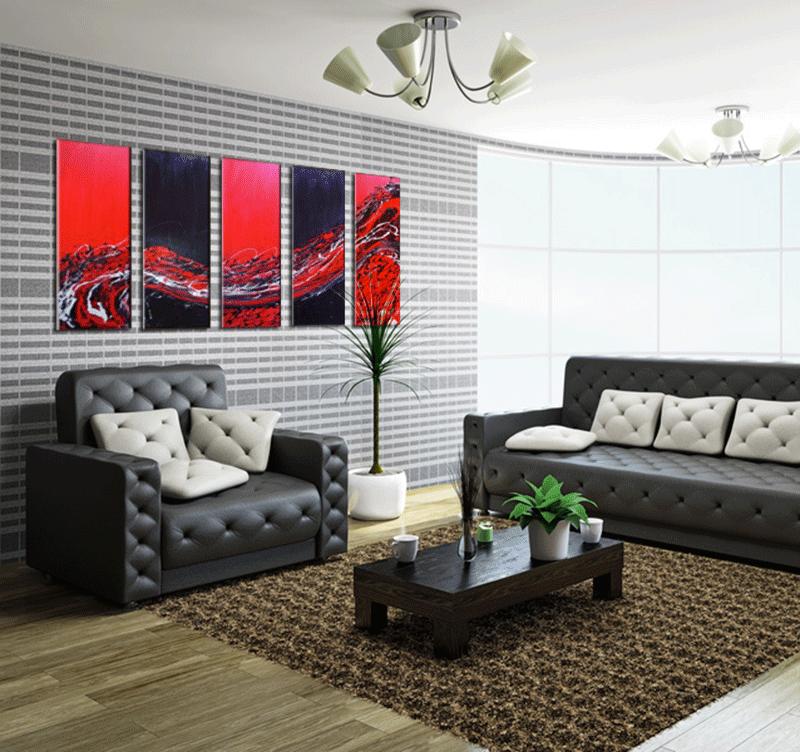 Présentation du tableau red wave fusion dans un décor contemporain