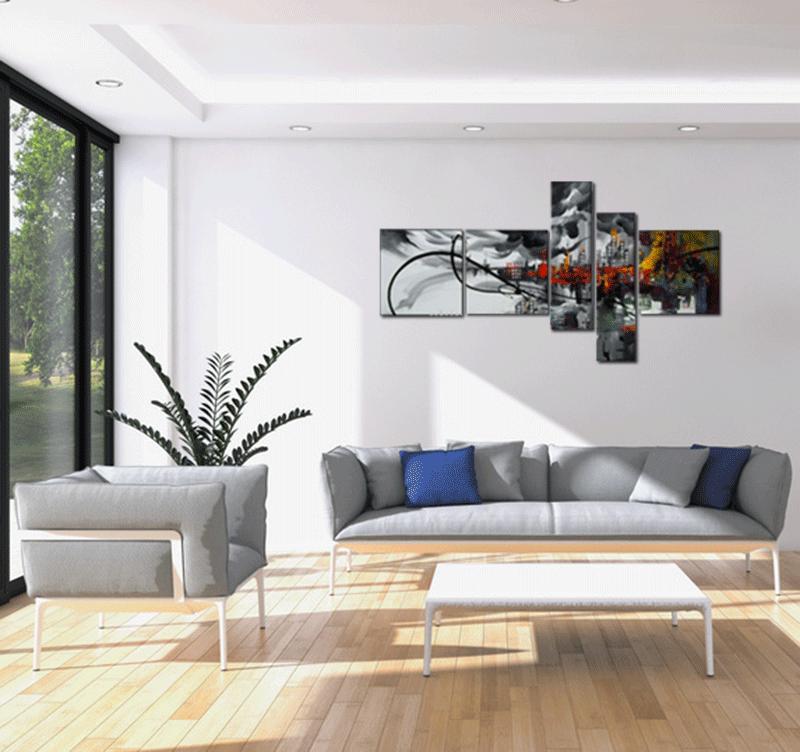 reprsentation du tableau colorful city smoke dans un dcor tendance - Tableaux Abstraits Colors