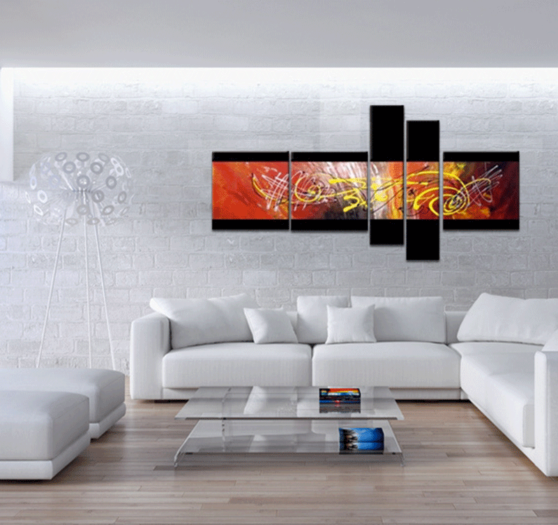 Abstract red fusion tableau abstrait - Comment faire un tableau contemporain ...